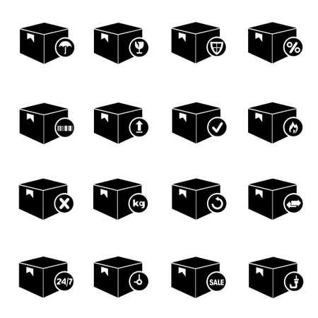 carton box set, box icon for shipping Stock Vector - 20959669