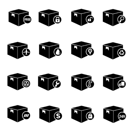 put the key: carton box set, box icon for shipping Illustration