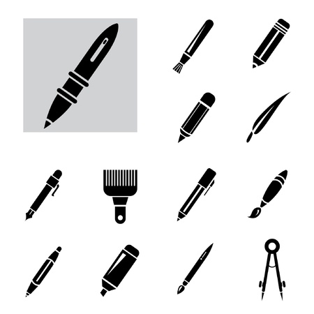 pen and pencil markers collection set Illustration