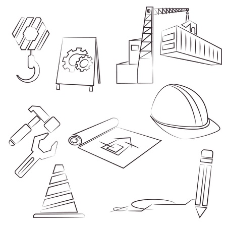 building inspector: construction, drawing line set, sketch line Illustration