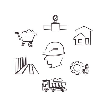 construction management: construction management, drawing line set, sketch line Illustration