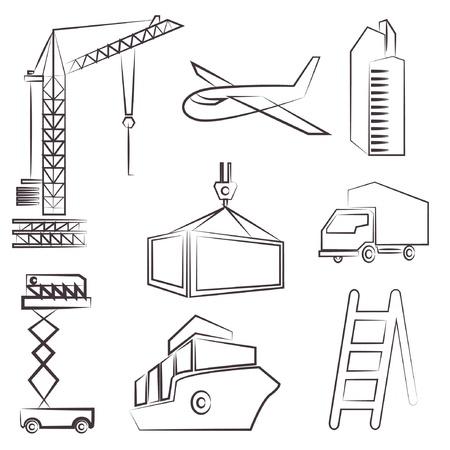 superintendent: conjunto de dibujo de l�neas de construcci�n, l�nea de boceto Vectores