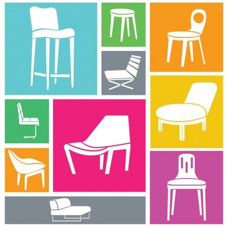 office furniture: furniture background, interior design, chairs set Illustration