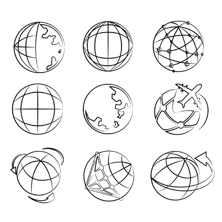 globe drawing line set, world map sketch line Vector