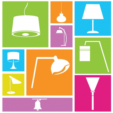 lamplight: interior design background, lamps set