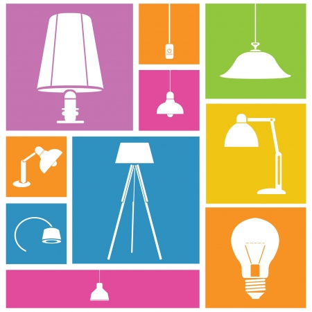 interior design background, lamps set Vector