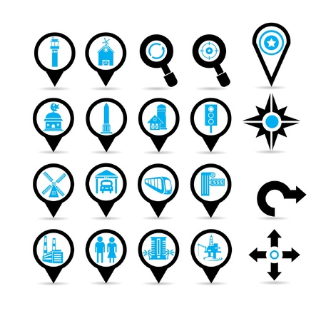 map set, map icons, location icons Vector