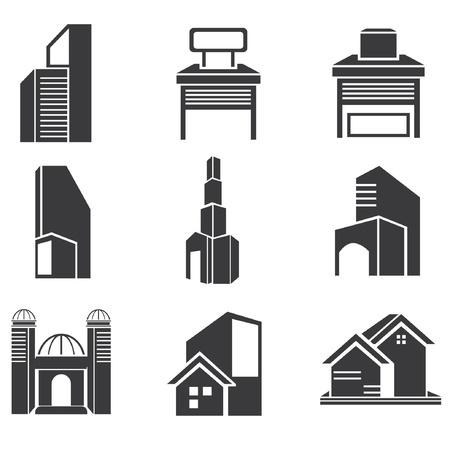 sanctuaries: building set, building icons Illustration