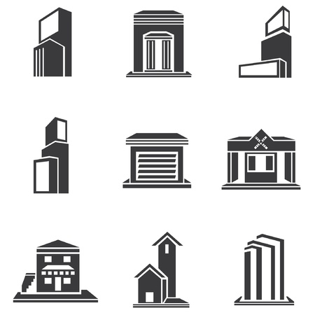 residential district: building set, building icons Illustration