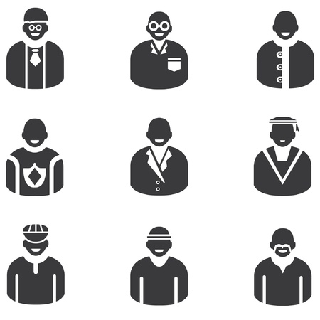 graduated: avatar icons, man icons, people icons and profession icons
