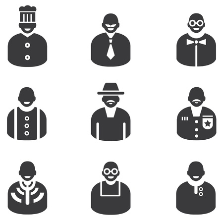 avatar icons, man icons, people icons and profession icons Vector