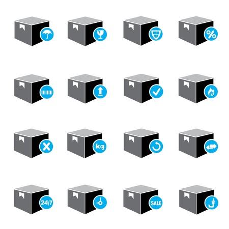 carton box: shipping box icons, carton box symbol Illustration