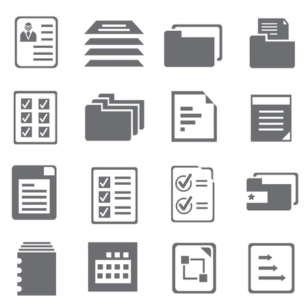 documentation: document and report icons set, vector Illustration