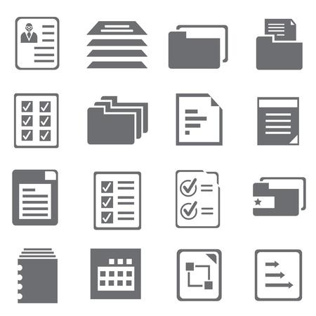 document en verslag iconen set, vector