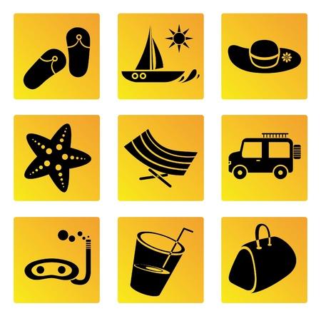 relent: vacanze e viaggi icone set Vettoriali