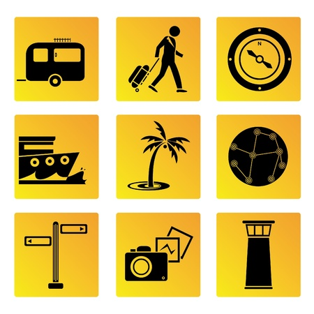 holiday and travel icons set Vector