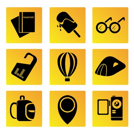 handycam: travel and holiday icons set