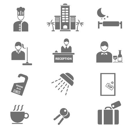 recepcionista: hotel icono conjunto, conjunto de servicios del hotel