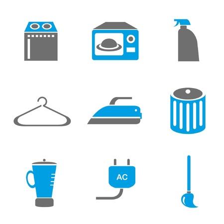 swab: household icons set, blue theme Illustration