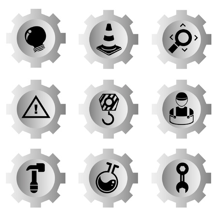 under construction sign with man: gear function set Illustration