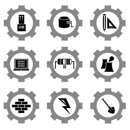 gear function set Stock Vector - 21506137