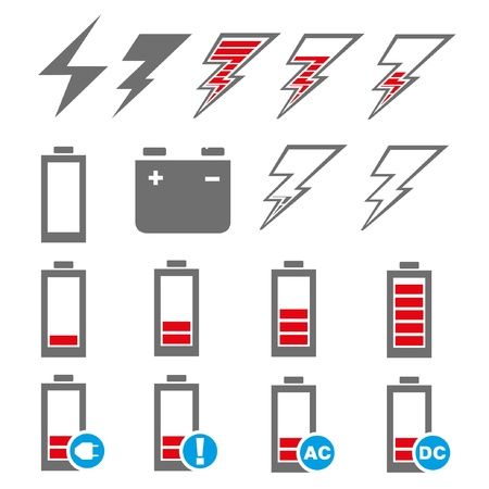 ac voltage source: set of red battery charge Illustration