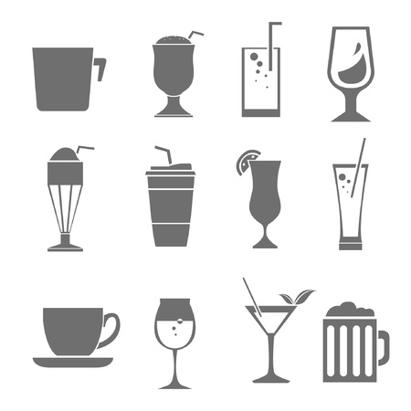 beverage cup set Vector