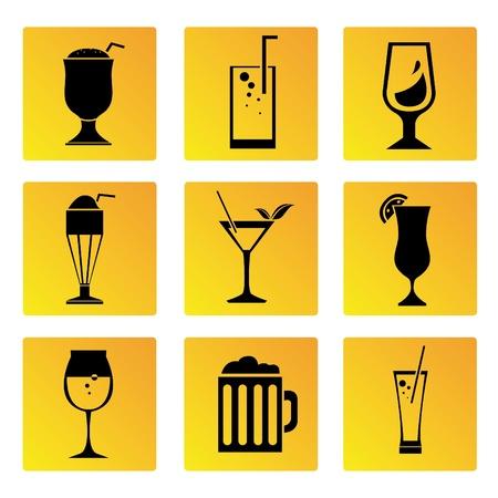 soft drinks: beverage cup button set Illustration