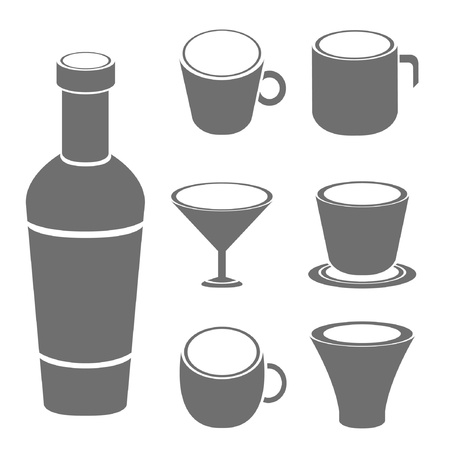 cup and bottle Vector