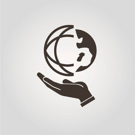earth hands: hand holding the globe Illustration