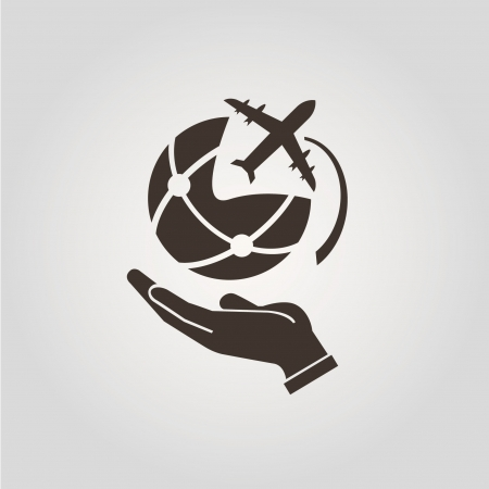 hand holding the globe, travel concept Vector
