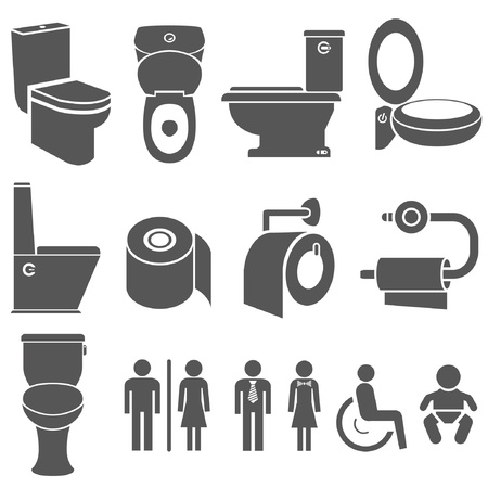 flush toilet: toilet and wc symbol set