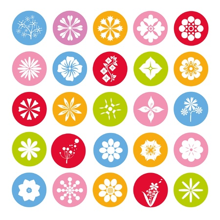 colorful flowers button set, round flower icons