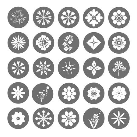 flower button set, round flower icons Illustration
