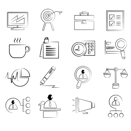 rough draft: business management concept icons set, drawing line, pencil line style