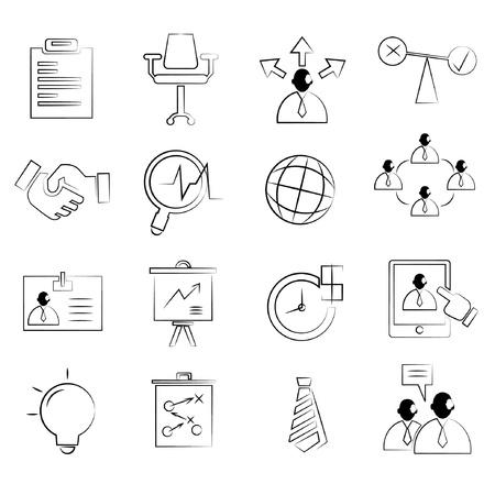 üzleti koncepció ikonok meg, rajz vonal, ceruza vonal stílusa