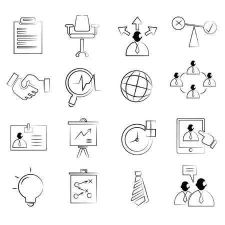 allocate: business concept icons set, drawing line, pencil line style