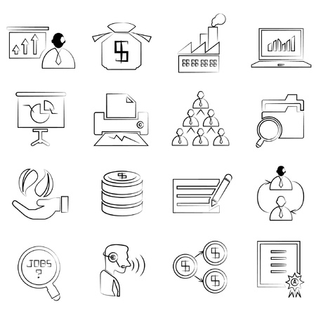 allocate: human resource and business concept icons set, drawing line, pencil line style