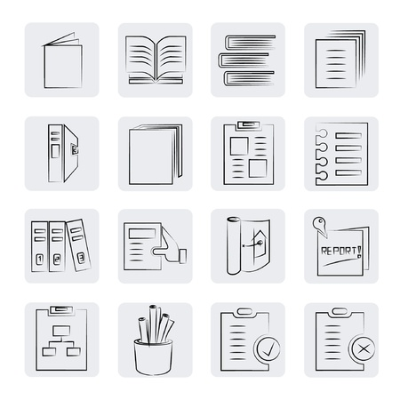 office and documents buttons set, sketch style Vector