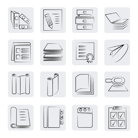 pile of papers: office and documents buttons set, sketch style Illustration