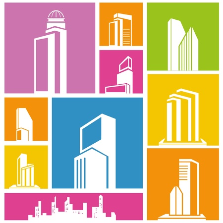 structuring: city, metropolis background, building icon, colorful background
