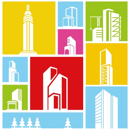 city, metropolis background, building icon, colorful background Stock Vector - 21506544