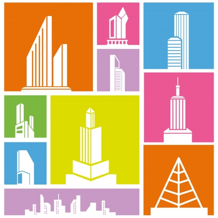 city, metropolis background, building icon, colorful background Stock Vector - 21506546