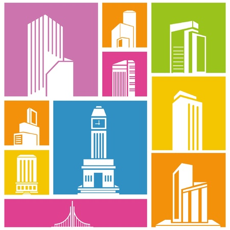 modish: city, metropolis background, building icon, colorful background