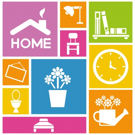 my home: interior design and home design icons, colorful background