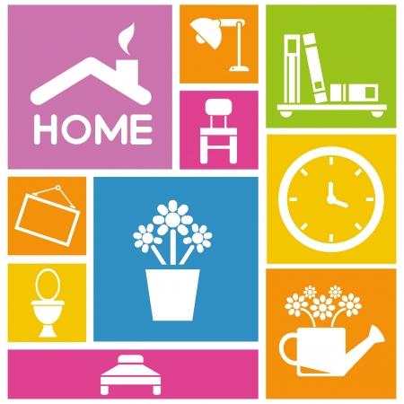 interior design et de conception de maison icônes, fond coloré