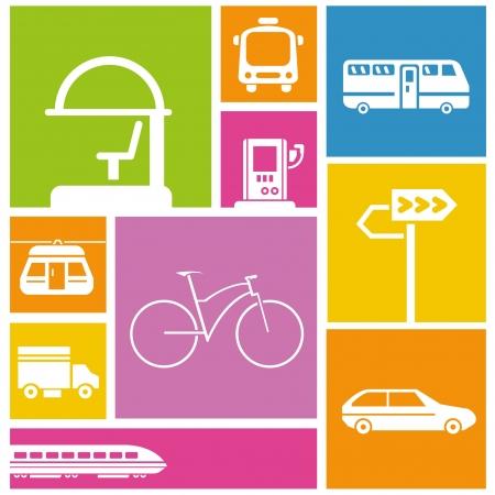 parada de autobus: tráfico, los iconos de transporte público, de colores de fondo