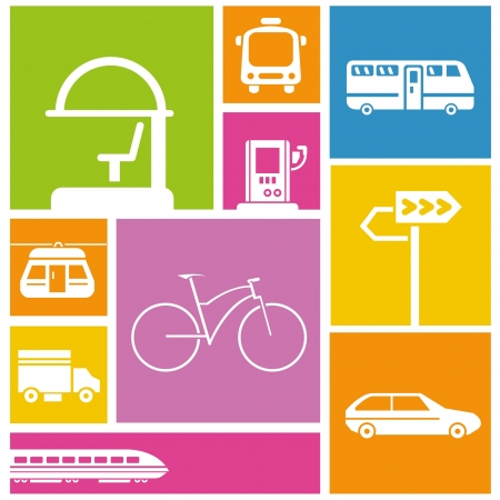 transportation icons: traffic, public transportation icons, colorful background