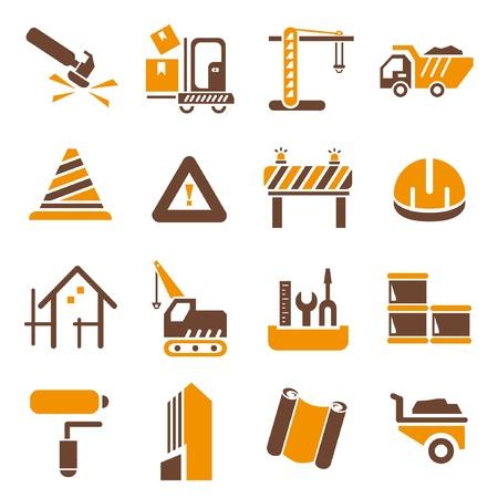 construction icons set, orange theme Vector