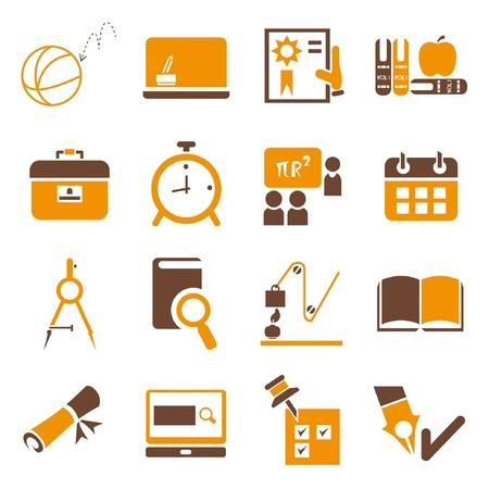 school icons set, orange theme Vectores